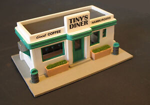 tiny 39 s diner ho 905dlx with interior ho scale kit by randy brown ebay