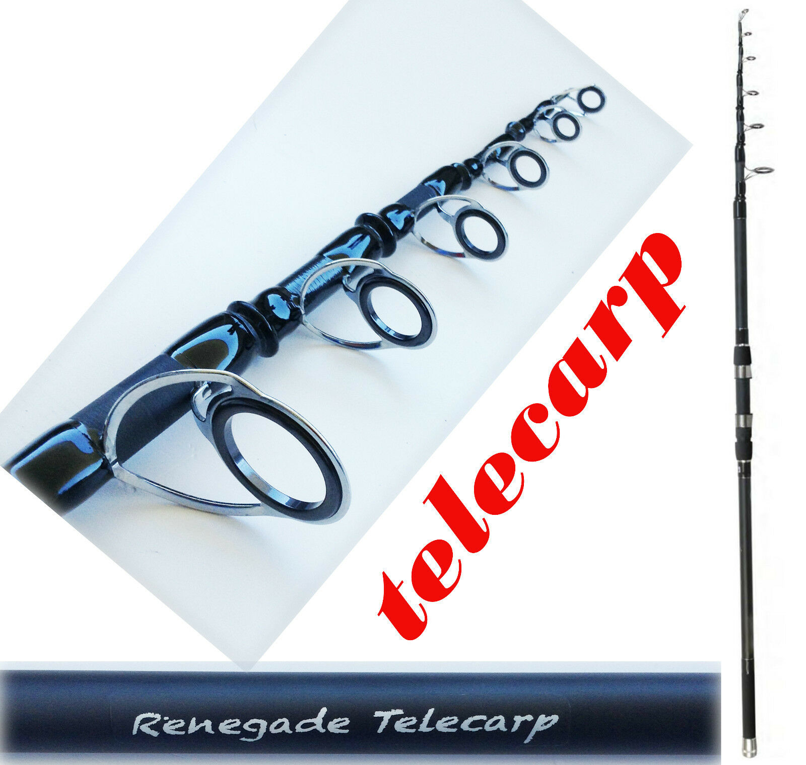 Canna carpfishing storione carpa pesca fondo 3 libre milo renegade telescopica