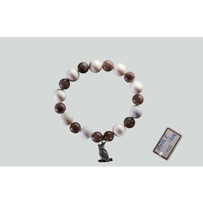 White and Grey Coral Agate Bracelet with Owl Charm Handmade Jewelry
