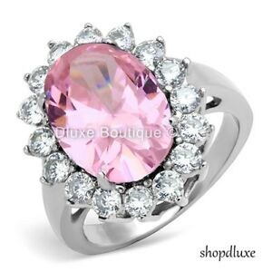 WOMEN-039-S-HALO-PINK-ROSE-AAA-CZ-STAINLESS-STEEL-ENGAGEMENT-FASHION-RING-SIZE-5-10