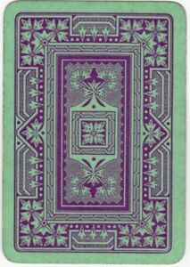 Playing-Cards-1-Swap-Card-Old-Antique-English-Wide-GEOMETRIC-Red-on-Green-LEAVES