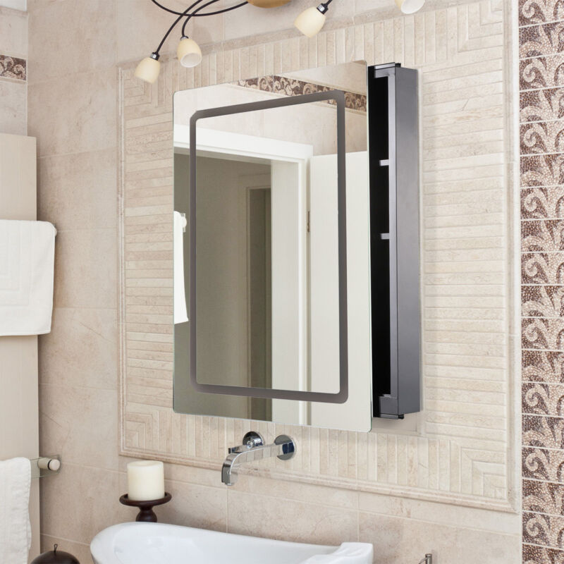 Details About Led Bathroom Mirror Cabinet Modern Sliding Door Illuminated Leds Silver Mirrors