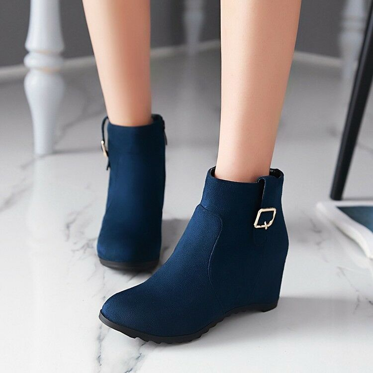 Womens Womens Womens Girls Fashion Hidden Wedge Heels Zipper Faux Suede Ankle Boots Plus Size c18a0e