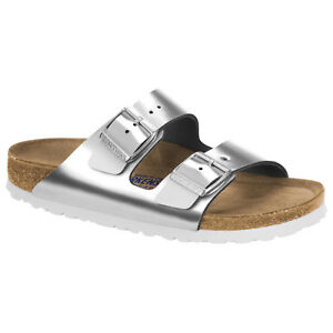 b7bc5177bc Details about Birkenstock Leather ARIZONA Metallic Silver SOFT FOOTBED  1005961