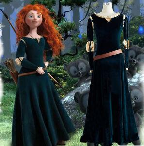 Image is loading Princess-Brave-Merida-Cosplay-Costume-Merida-Halloween- Dress- & Princess Brave Merida Cosplay Costume Merida Halloween Dress ...