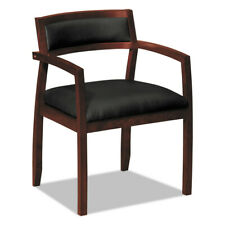 Basyx Wood Guest Chairs Withblack Leather Seat Back Mahogany Vl852nsb11 New
