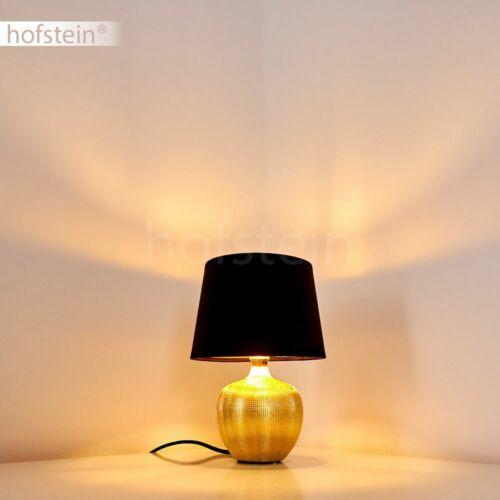 schwarze Stoff Nacht Tisch Lese Lampen Schlaf Wohn Zimmer Leuchten Keramik gold