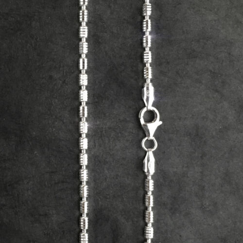 ITALY Sterling BARREL Octagonal Dia-cut Chain Necklaces-Rhodium-Solid