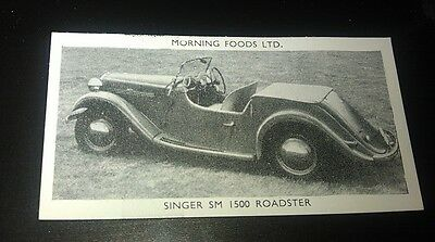 1953 ROVER  Saloon Orig Cereal Trading Card