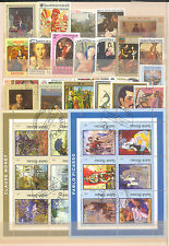PAINTINGS / NUDE PAINTINGS SET OF 620 DIFFERENT STAMPS MINT/USED/CTO STAMPS