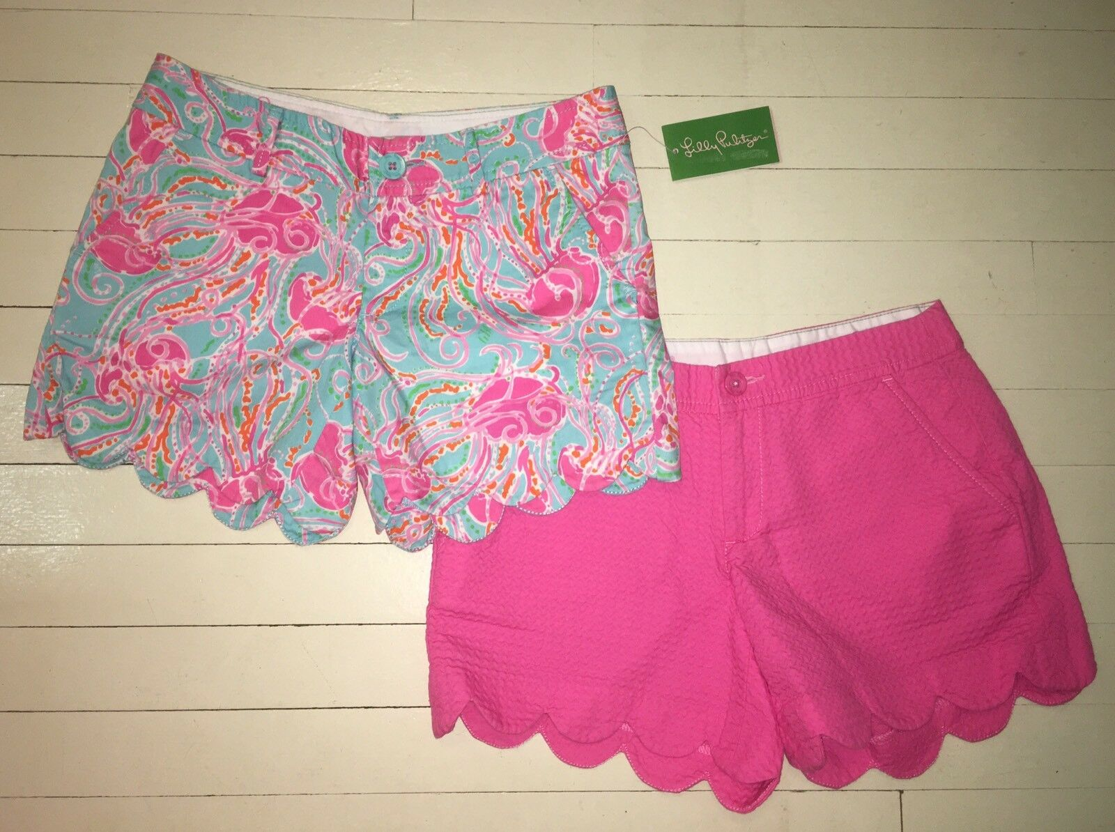 NEW Lilly Pulitzer Jellies Be Jammin Buttercup Shorts sz 00 +Bonus Pink Pair