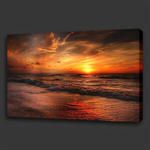 STUNNING-CARIBBEAN-RED-SUNSET-SEASCAPE-BOX-CANVAS-PRINT-WALL-ART-PICTURE-PHOTO