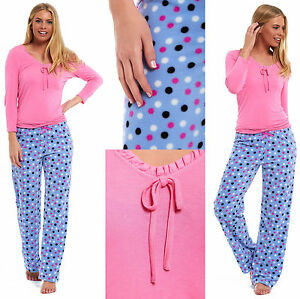Ladies-Ex-Marks-and-Spencer-Pyjamas-Pink-Viscose-Summer-Lace-Fleece-Polka-Pants