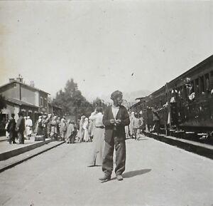 Algeria Station Da Chemin Da Ferro Treno Placca Da Lente Stereo Vintage Ca 1920