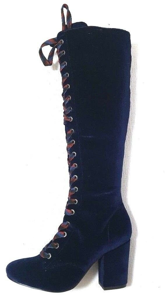 LFL by Lust For Life Women's Velvet Lase Up Boot color Midnight SZ 6