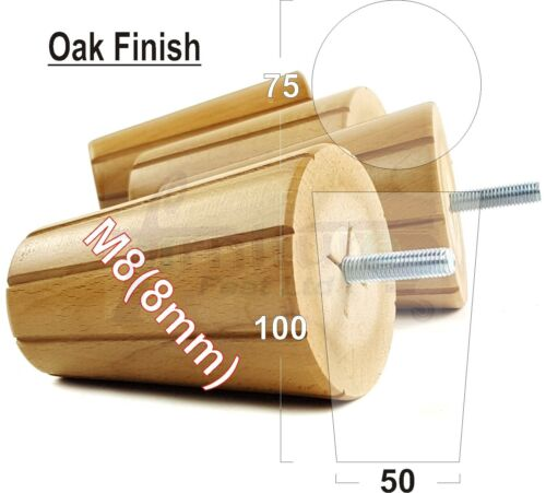 4x WOODEN FEET SOLID WOOD FURNITURE LEGS IN OAK FOR SOFA 8mm STOOLS M8 CHAIRS