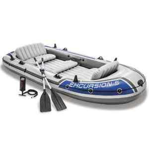 Intex Excursion 5 Set Inflatable Boat with Oars and Pump Water Boating Rafting