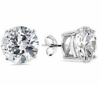 Round Diamonique Cz Solitaire Stud Earrings Anti-tarnish 925 Sterling Silver