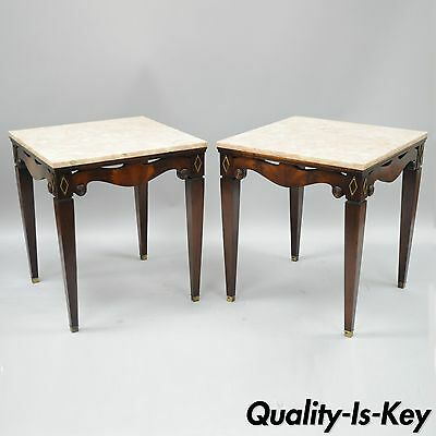Pink Marble Top Mahogany End Tables