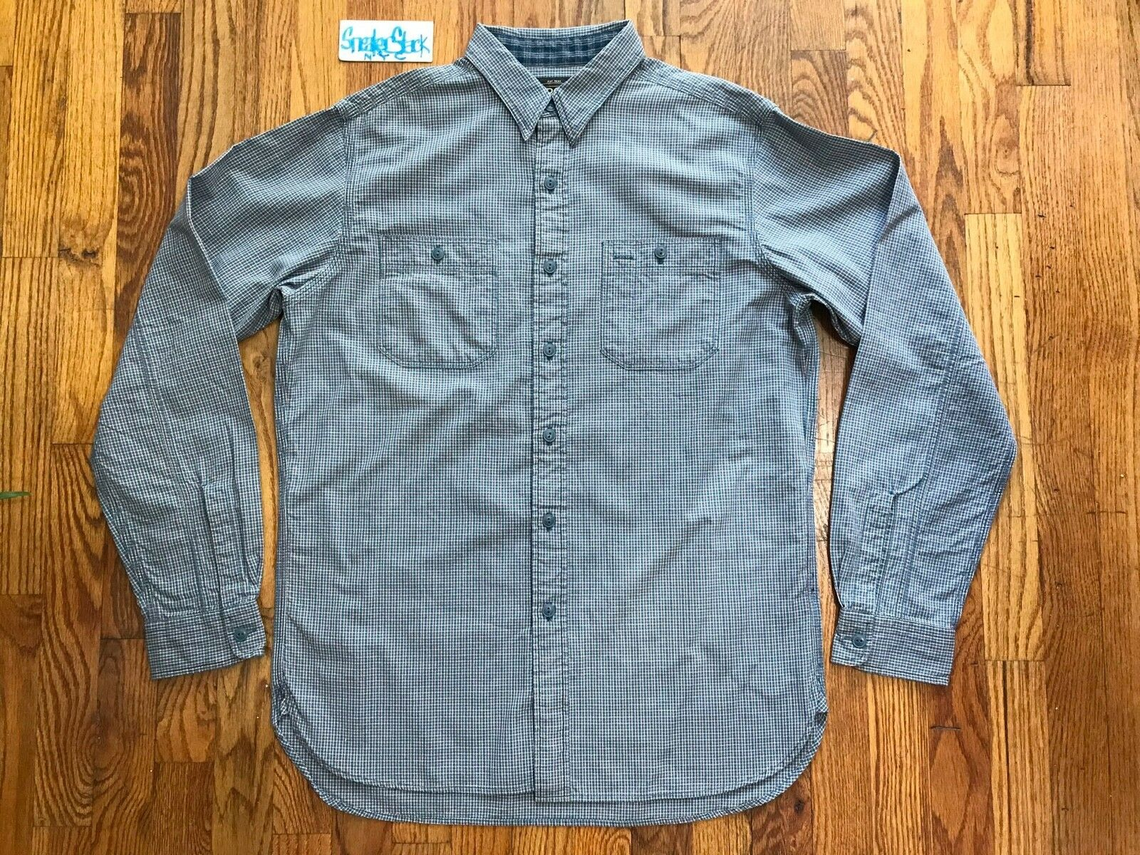 Vintage RRL Ralph Lauren Long Sleeve Button Down Shirt Blau Weiß rot Mens Sz M