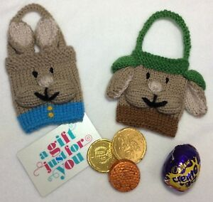 Details about KNITTING PATTERN Peter Rabbit and Benjamin Bunny inspired gift bags 9cm x 7cm