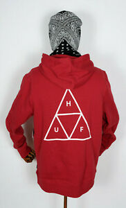 Huf-Worldwide-Sweatshirt-Hooded-Pullover-Hoodie-Triple-Triangle-Rio-Red-in-M