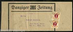 DANZIG 1922 NEWSPAPER WRAPPER OF DANZIGER ZEITUNG VERT PR SC#73 CORRECT POSTAGE
