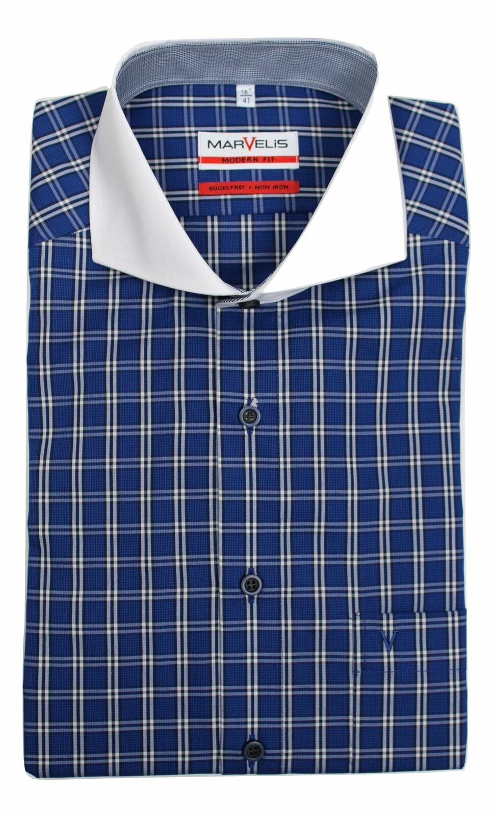 Blue Tram Check Bankers Collar