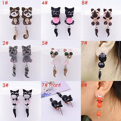 Hot DIY Fashion Jewelry Women 3D Lovely Cartoon Cat Clay Animal Stud Earrings