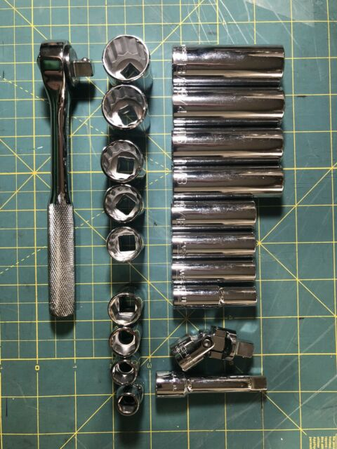 28-Pi 3//8 In Drive Sae Ratchet And Socket Mechanics Tool Set With Packout Case