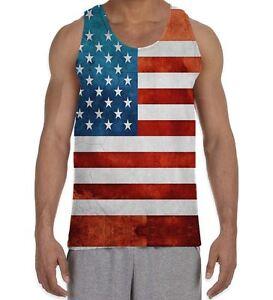 Calhoun USA Patriotic American Flag Mens Stars and Stripes Tank Top Shirt