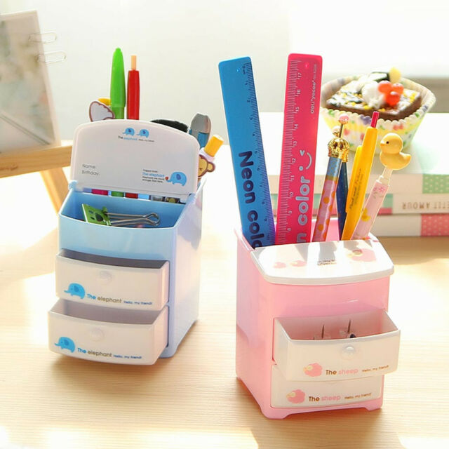 Office Cartoon Desk Organizer Desktop Pen Pencil Holder Storage Two Drawers  #B