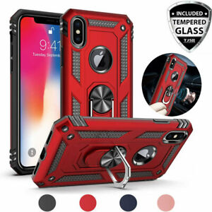 For Apple iPhone XS Max/XR/X Magnetic Support Metal Ring Case+Tempered Glass