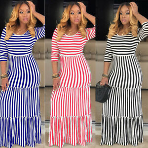 Women-Rond-Neck-Half-Sleeves-Stripes-Print-Casual-Summer-Vocation-Long-Dress