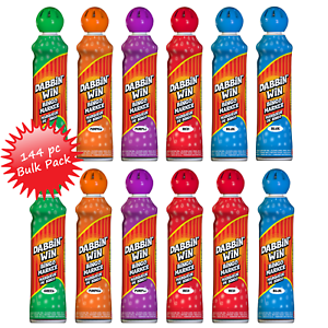 Dabbin'Win Mini Bingo Ink Markers Bulk Case - 144 Daubers Assorterade färger 1.5oz