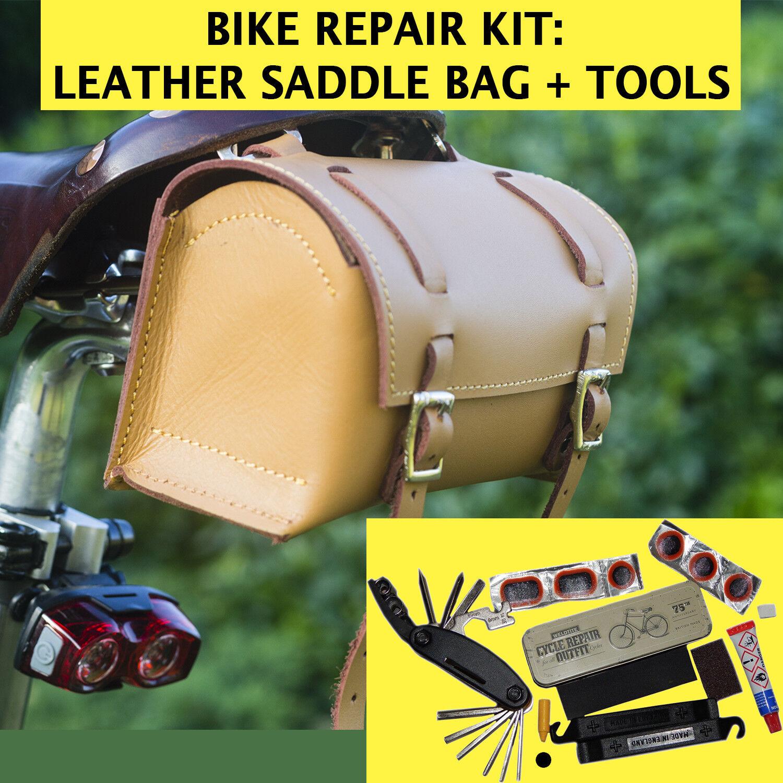 Bike Repair Set  Leather Bag, Multi-tool, Puncture  Repair Kit HONEY TAN UK MADE  healthy