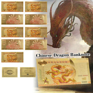 WR-10pcs-Gold-Foil-Chinese-Dragon-Banknote-1000-Note-Money-For-Collection-COA