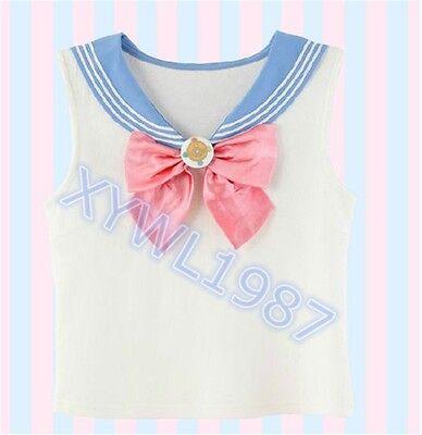 Sailor Moon 20th Anniversary Sleeveless T-shirt Vest Cute Bow Sailor Collar