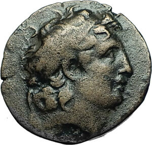 TRYPHON-Rare-Ancient-142AD-Seleukid-Authentic-Ancient-Greek-Coin-w-HELMET-i66563