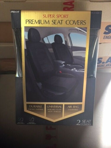 Pilot Automotive Black Synthetic Leather Seat Cover Pair SC-436EE-2 NEW