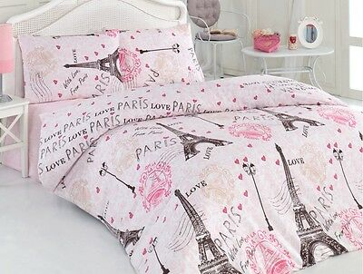 100% Cotton 4 pcs Pink Paris Eiffel Tower QUEEN Double Bedding Duvet Cover Set