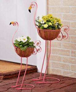 Flamingo-Bird-Planters-Yard-Statue-Lawn-Art-Garden-Porch-Patio-Outdoor-Decor-2Pc