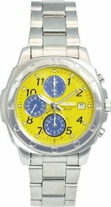 SEIKO-SND409-Chronograph-Yellow-Dial-Men-039-s-Watch-Free-Ship-w-Tracking-New-Japan