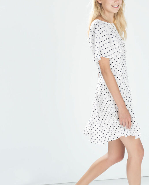 ZARA WHITE POLKA DOT SUMMER DRESS SIZE SMALL AND MEDIUM