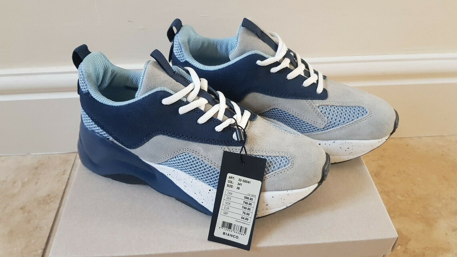 Bianco Women's Laced Up Grey bluee chunky Platform Trainers Leather 5 UK  38 New