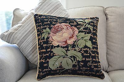 Solitary Floral Black And Pink Rose 18x18 IN Throw Cushion Pillow Cover Accent