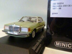 Wow extrêmement rare Mercedes W123 230ce Coupe L.green 1:43 Minichamps-200/300/450