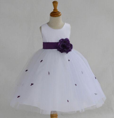 WHITE ROSEBUD WEDDING CHILD FLOWER GIRL DRESS PAGEANT TULLE 12-18M 2 4 6 8 10 12