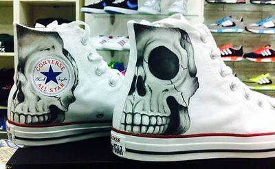 Scarpe Converse Bianche Alte personalizzate Paint Disegnate Teschio Skull Skulls | eBay