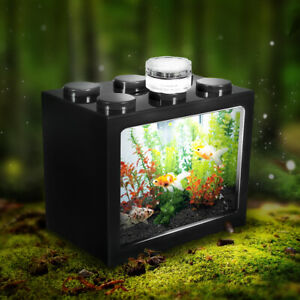 Mini-Clear-LED-Fish-Tank-Goldfish-Betta-Ornament-Desktop-Aquarium-Table-Decor